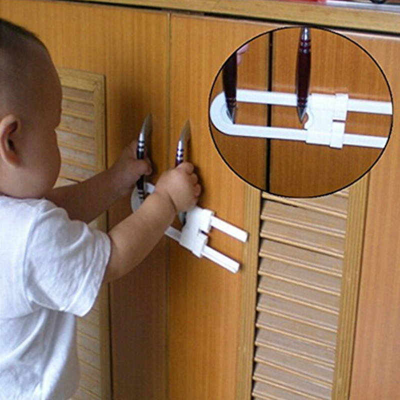 Cabinet Locks 1PC Kids Baby Safety Toddler Baby Child U-Shaped Door Cupboard Cabinet Door Safety Lock Latch For Baby Safety