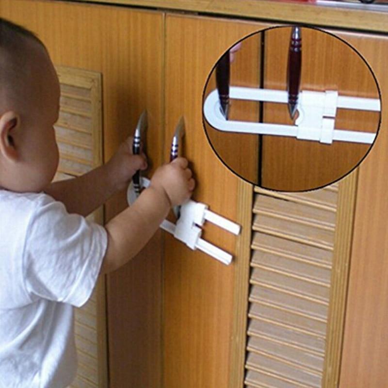 Cabinet Locks 1PC Kids Baby Safety Toddler Baby Child U-Shaped Door Cupboard Cabinet Door Safety Lock Latch For Baby Safety