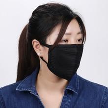 1 шт черная маска для рта против дымки Пылезащитная многоразовая двухслойная Пылезащитная маска для рта для мужчин и женщин