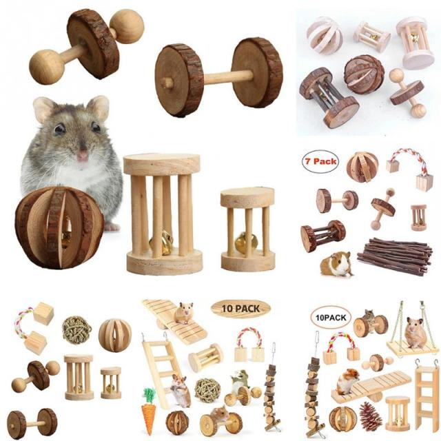 Playing Teeth Care Wood Rabbit Molar Birds Exercise Small Animals Parrot Balls Bell Mini Chew Toys Set Hamster