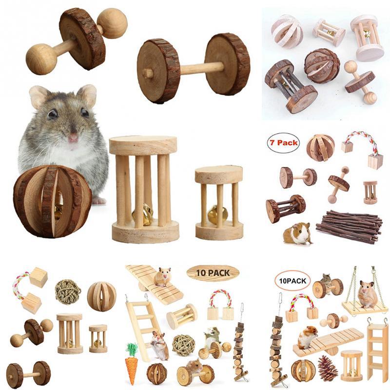 Spielen Zähne Pflege Holz Kaninchen Molaren Vögel Übung Kleine Tiere Papagei Bälle Glocke Mini Kauen Spielzeug Set Hamster
