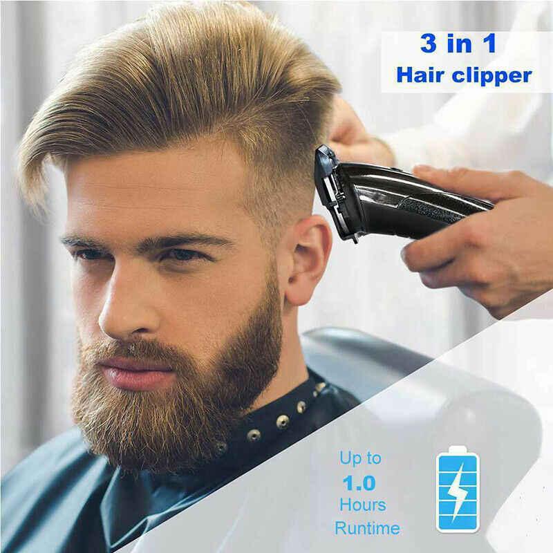 Kemei cortador de cabelo, 3 em 1, sem fio, recarregável, à prova d' água, elétrico, aparador de cabelo e barba, para homens