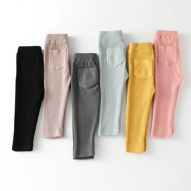 Girls Pants Leggings Long-Trousers Cotton Fashion New Autumn Solid Big Spring Kids Children's title=