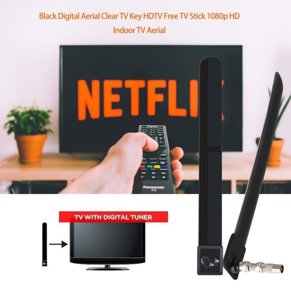 TV Antenna Indoor HD 1080p Wired Channel Signal Increase 2019 New Black TV Key HD TV Digital Antenna Clear Free TV Stick