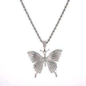 Колье с бабочками в стиле хип-хоп, эксклюзивное ожерелье в стиле Харадзюку Unif, AAA циркон, 100% медь