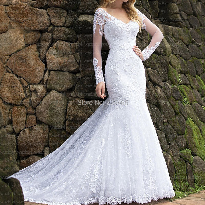 Quality Mermaid Wedding Dress Elegant Vestido De Noiva Backless  Marriage Dress Lace Robe De Mariee Chapel Train Customise Dress