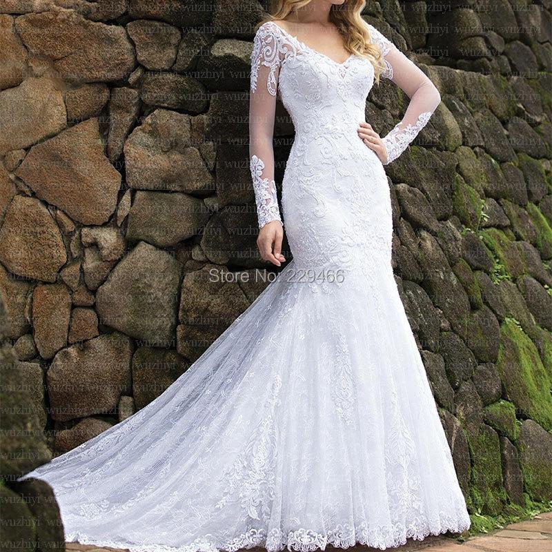 Quality Mermaid Wedding Dress Elegant Vestido De Noiva Backless  Marriage Dress Lace Robe De Mariee Chapel Train Customise Dress