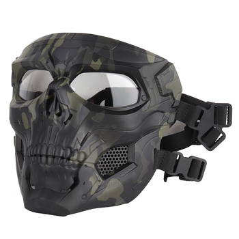 tactical full face mask hunting headgear balaclava mesh mask airsoft paintball game protective mask cs shooting ninja style mask Airsoft Paintball CS Game Mask Tactical Full Face Skull Mask Army Outdoor Hunting Protective Masks