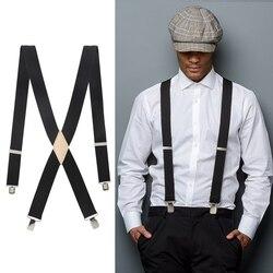 Men's 3.5cm Unisex Solid Straight Clip Rawhide Suspender Genuine Leather Brace 110cm 130cm Extended Size Vintage Groomsmen Gifts