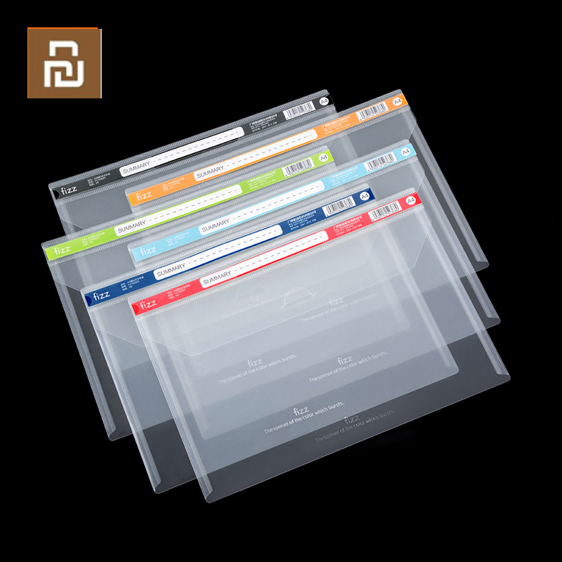 6Pack Youpin File Bag Waterproof A4 File Document Bag Pouch Bill Folder Holder Transparent File Document Organizer For Office