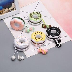 Image 3 - 1pcs 3.5mm In Ear Cute Earphones  Macarons Donut Cartoon Earphone Q17 White/Pink/Green/Blue/Black/Mint Green Portable Earplug