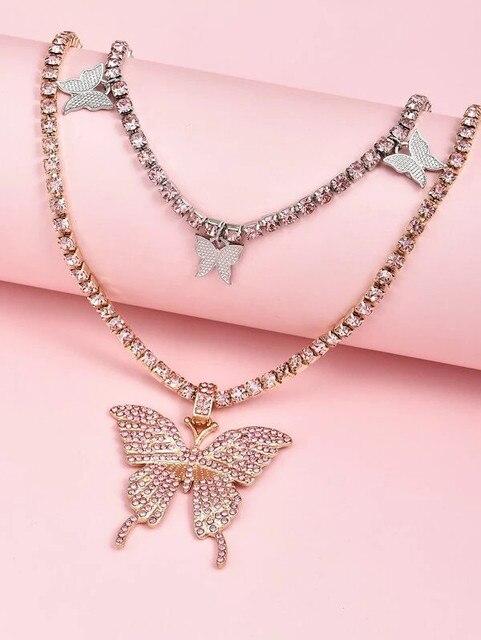 Luxury Big Rhinestone Butterfly Pendant Necklace Statment Choker Chunky Collar