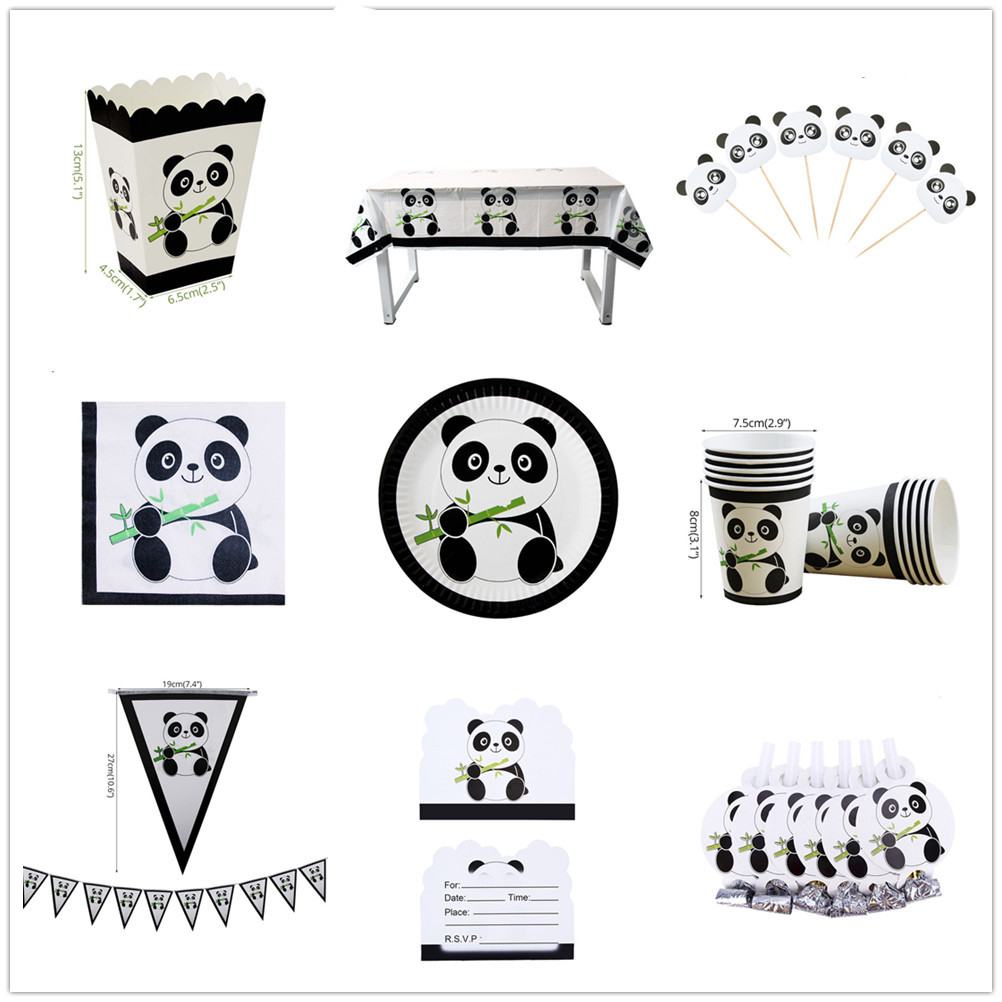 Panda Theme Children's Birthday Holiday Party Supplies Paper Plates Cup Napkin Banner Disposable Tableware Boy Baby Shower