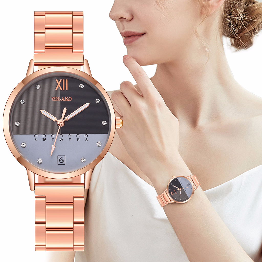 Women Stainless Steel Double Color Matching Watch Luxury YOLAKO Ladies Quartz Wristwatches Clock Reloj Mujer