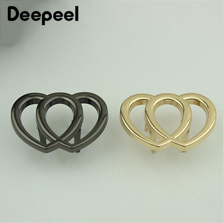 5/10pcs 40x25mm Heart Metal Buckles For Shoes Women Clothing Handbag Decorative Buckle DIY Leather Craft Hardware Accessories