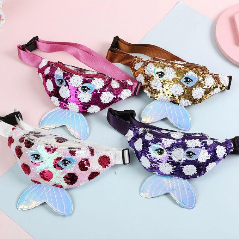 Baby Girls Fashion Sequins Waist Bag Cross Body Chest Bags Purse Mini Bags Children Belt Waist Bag One Shoulder Crossbody Bag