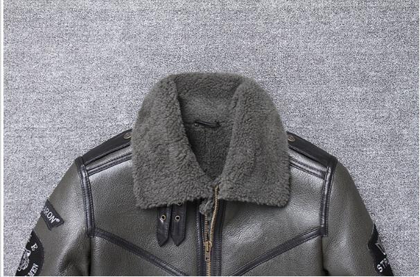 Hbaf022ed12964e048cb72a4b105370e8F Free shipping,Winter natural Sheepskin thick fur coat,classic wool Shearling,warm genuine leather jacket,mens plus size outwear