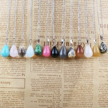 Wholesale Natural Stone Necklace Jewlery for Men Women Round Agate Crycal Pendant Quality Stainless Steel