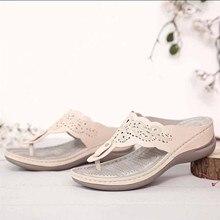 Casual Women's Wedge Heel Flip Flops Summer Ladies Embroidered Clip-Toe Sandals Slope Heel Slippers Shoes sandalias mujer 2021