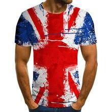 Camiseta de manga corta con estampado de bandera 3D para hombre y mujer, ropa informal con estampado de bandera británica, camis