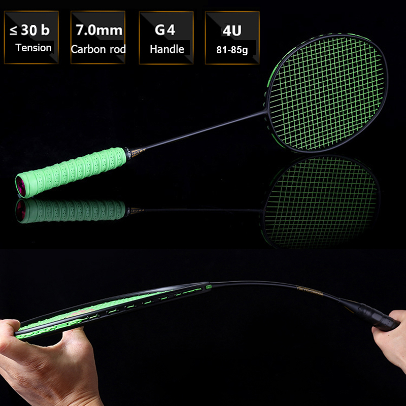 4U Offensive Carbon Badminton Racket Light Weight Training Badminton Racquet Good Damping 22-30 LBS With Bag
