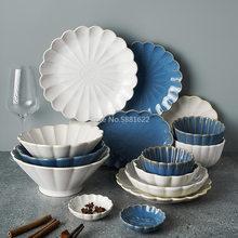 1pc Japanese Dinnerware Ceramic White Blue Dinner Plate Serving Dishes Rice Ramekin Sauce Bowl Microwave Safe