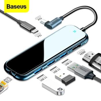 Baseus USB Type C 허브-HDMI RJ45 멀티 USB 3.0 전원 어댑터-MacBook Pro Air iWatch Dock 3 포트 USB-C USB 허브 분배기 허브