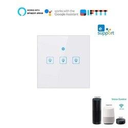 Wifi inteligentny przełącznika światła na ścianie panel dotykowy EU Standard 1-3 Gang inteligentnego domu współpracuje z Alexa Google domu Mini IFTTT