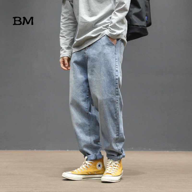 Hip Hop Straight Jeans Men Kpop Korean Style Clothes 2019 Streetwear Harajuku Modis Loose Japanese Streetwear Blue Jeans
