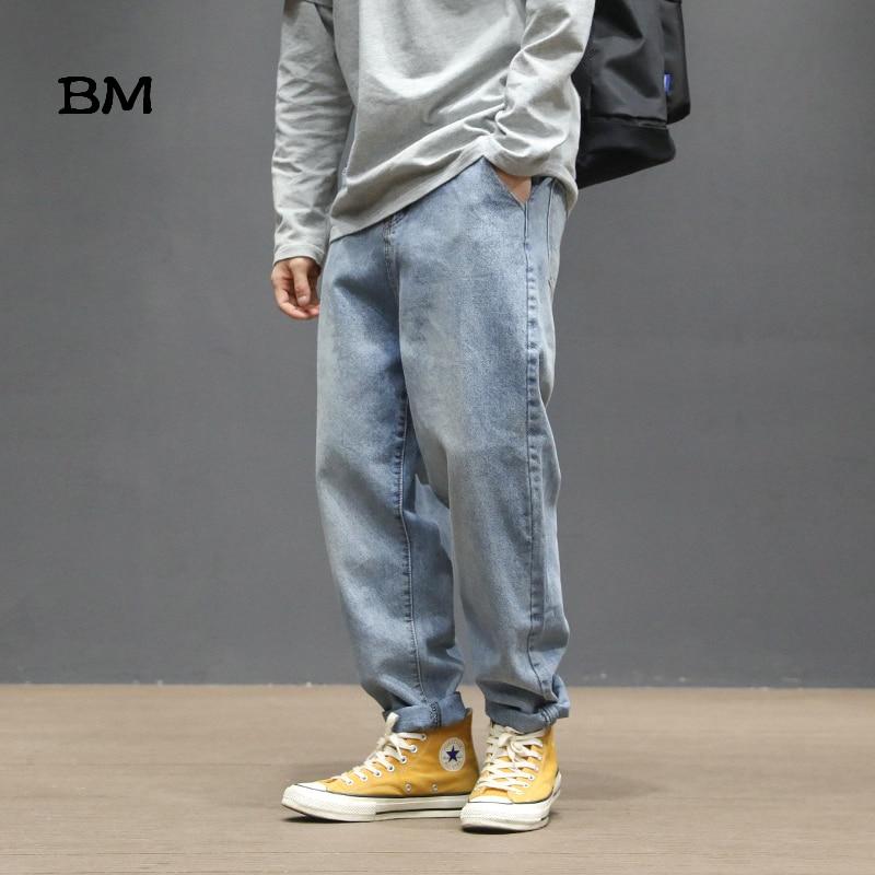 Hip Hop Straight Jeans Men Kpop Korean Style Clothes 2019 Streetwear Harajuku Modis Loose Japanese Streetwear Blue Jeans