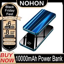 NOHON 10000 mAh Power Bank przenośny Powerbank 10000 mAh Mini zewnętrzna ładowarka do iPhone Xiaomi Mi9 cyfrowy PoverBank tanie tanio Bateria litowo-polimerowa Cyfrowy wyświetlacz Ładowarki i akumulatora w 1 Podwójny USB 10000mAh Do tabletu Do smartfona