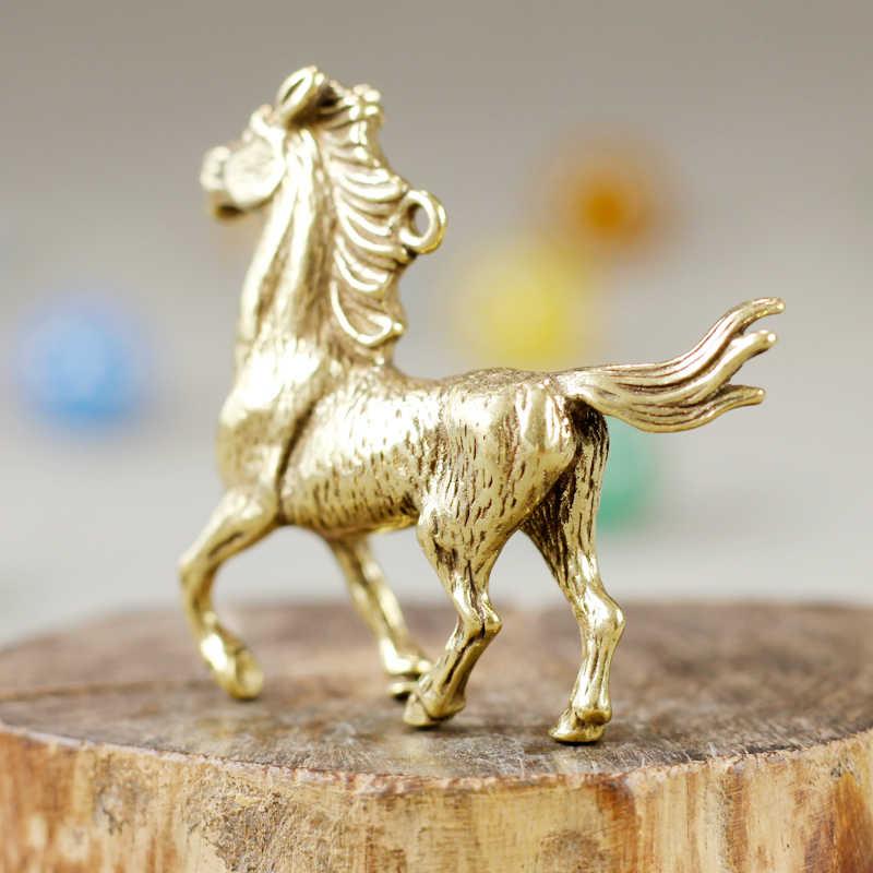 Vintage Lucky Horse Key จี้ Retro ทองเหลืองม้าสัตว์ Figurines เครื่องประดับรถ Key ผู้ถือของขวัญ Handmade