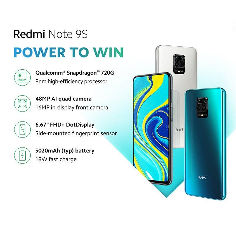 Global Version Xiaomi Redmi Note 9S 64GB / 128GB Snapdragon 720G 48MP AI Quad camera Smartphone Note 9 S 5020mAh