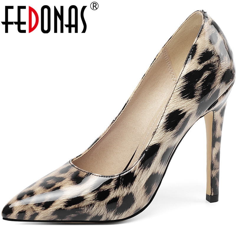 FEDONAS Shallow Sexy Leopard Print Women Shoes Elegant Concise High Heels Pumps 2020 New Fashion Pointed Toe Party Shoes Woman