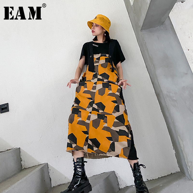[EAM] Women Pattern Printed Denim Temperament Strapless Dress New Sleeveless Loose Fit Fashion Tide Spring Autumn 2020 1T161