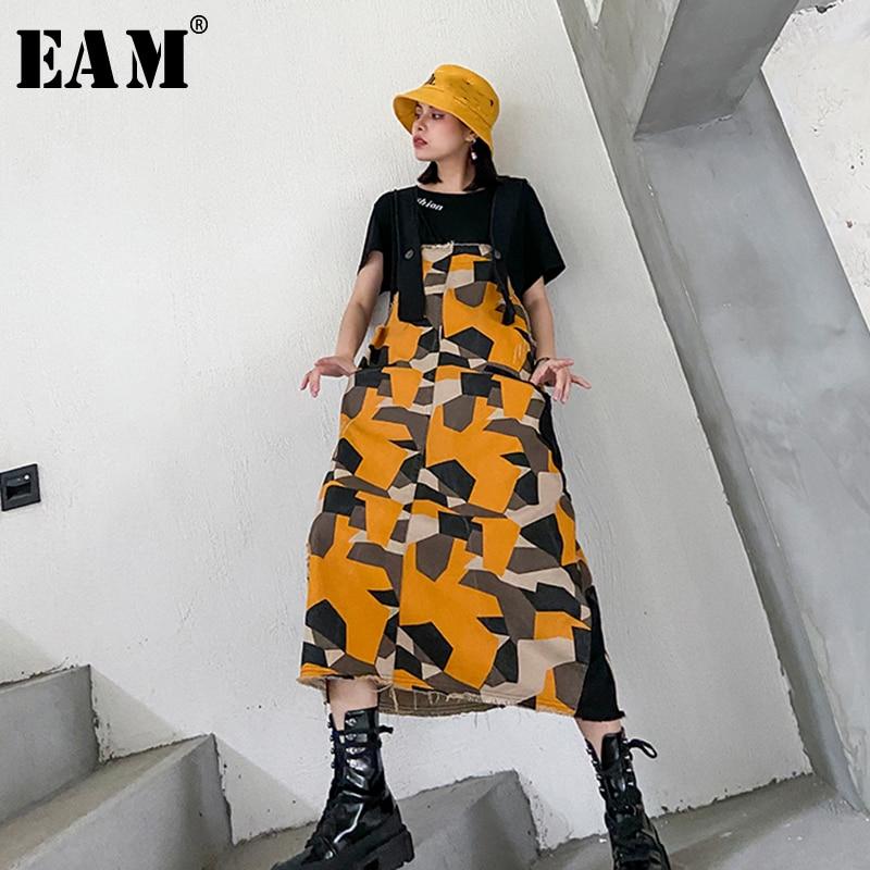 [EAM] Women Pattern Printed Denim Temperament Strapless Dress New Sleeveless Loose Fit Fashion Tide Spring Autumn 2020 1T161
