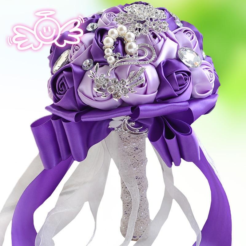 Sparkly Rhinestones Crystal Wedding Bouquet Satin Pearls Beaded Bridesmaids Flower Girls Holding Flowers Bouquets Bryllup bukett