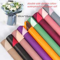 Двойная цветная бумага для рукоделия, 10 ярдов, рулон 60 см, водонепроницаемая оберточная бумага, подарочная упаковка для цветов, товары для с...