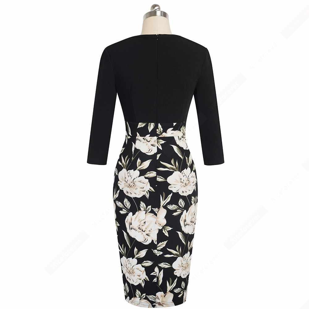 Женское осеннее повседневное лоскутное ретро Тонкое платье, сексуальное с цветочным принтом, деловое платье-карандаш HB556
