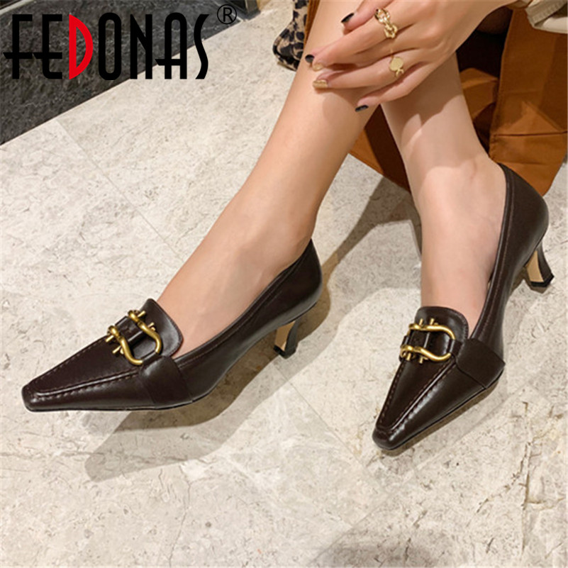 FEDONAS Retro Genuine Leather Women Pumps High Heeled Square Toe Office Shoes Woman Spring Summer Casual Shoes Ladies Sandals