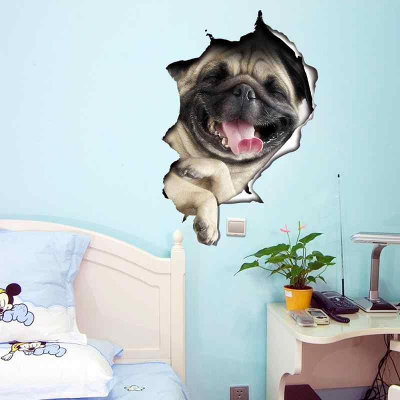 1 قطعة الموضة غير سامة الكرتون القط/الكلب ملصقات جدار لغرفة المعيشة ديكور المنزل لتقوم بها بنفسك للإزالة ثلاثية الأبعاد الجدار ملصق جدارية