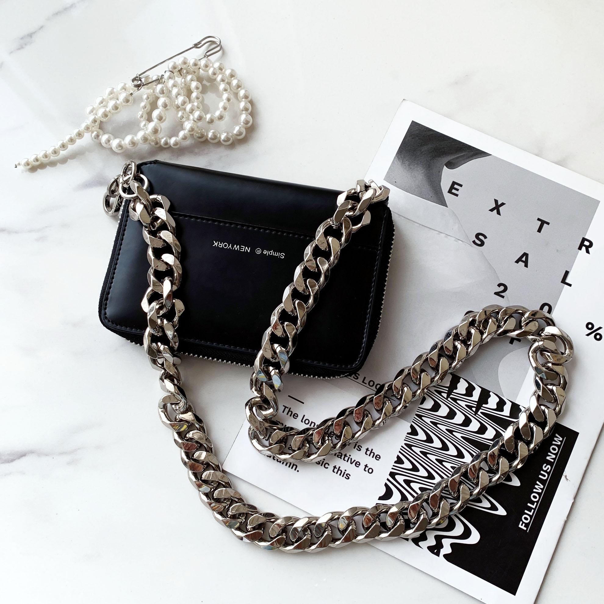 Black Wallet Women Thick Chain Belt Shoulder Bags Mini Lipstick Pocket Fashion Crossbody Messenger Bags Women Handbag And Purse