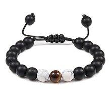 Регулируемые браслеты из бисера веревки для мужчин черный оникс с тигровым глазом натуральный камень Йога браслеты для женщин Подвеска-Шарм ручной работы ювелирные изделия