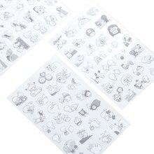 цена на 6pcs/lot Cartoon Crazy Rabbit Black&White PVC Stickers For DIY Albums Scrapbooking Diary Decoration Cartoon Children Stationery