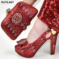 New Arrival Matching Italian Shoe and Bag Set Shoes and Bag Set African Sets 2020 Fashion Italian Women Wedding Pumps with Purse