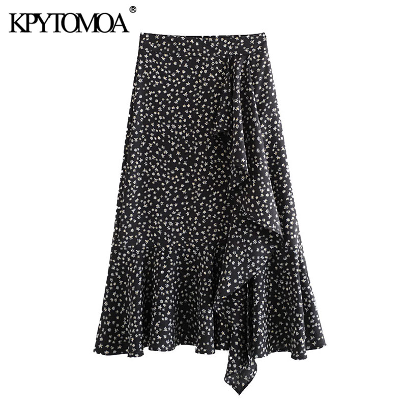 KPYTOMOA Women 2020 Chic Fashion Print Ruffled Midi Skirt Vintage Side Zipper Front Vents Female Skirts Casual Faldas Mujer