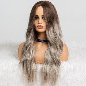 Image 4 - EATON perruque synthétique longue ondulée grise, noire, brune et grise pour femmes, perruque naturelle avec raie centrale résistante à la chaleur