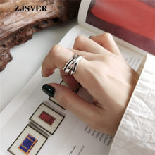 ZJSVER Korean Jewelry 925 Sterling Silver Rings Fashion Retro Weaving Line Opening Adjustable Women Ring For Present(China)