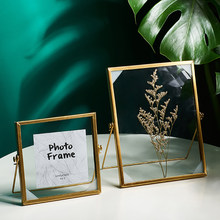 Metal Photo Frame Creative Glass Clip Dried Flower Plant Photo Frame Home Modern Style Desk Table Vertical Decoration Gifts