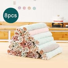 Behogar 8 pces panos de limpeza reutilizáveis super absorvente microfibra prato pano de lavagem toalha pano para cozinha em casa